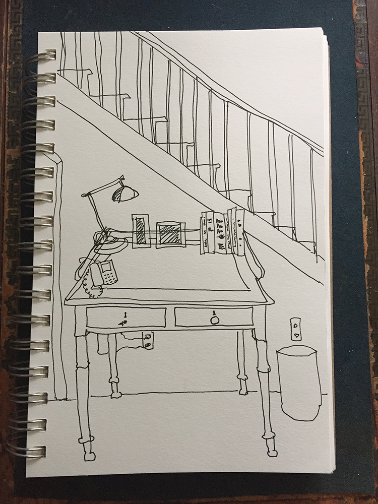 Dawn Chandler's cartoon sketch of the front hall table in her family home.