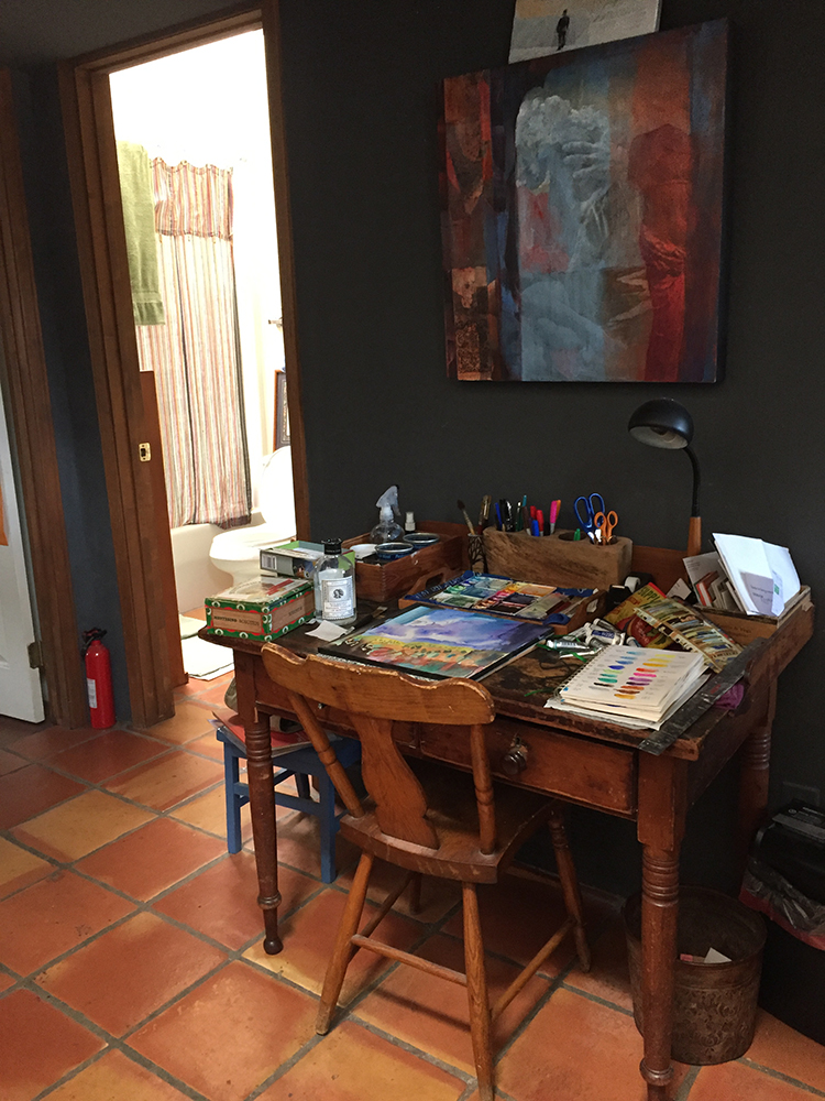 One of Dawn Chandler's watercolor work areas in her Santa Fe home. Photo by Dawn Chandler
